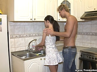 Assfucked in a kitchen anal big tits blowjob video