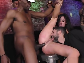 BBC slut cuckolds boyfriend by getting gangbanged at a nightclub cumshot blowjob interracial video