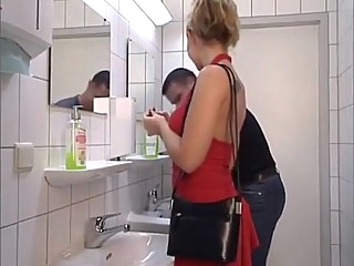 Lady in Red gets her ass fucked in Toilet. Swallow anal blonde blowjob video